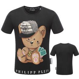 Wholesale Teddy Bear T Shirt Printing - 2018 new round neck short sleeve casual T-shirt teddy bear printing cute men's 3D print high-quality cotton brand shirt T-shirt