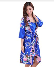 """Wholesale Summer Nightgowns For Women - Wholesale-2014 Fashion Hot Sale Women White Seven Sleeves Silk Robes Printed,New Design Sexy """"V"""" Collar Brace Nightgown For Summer,Autumn"""