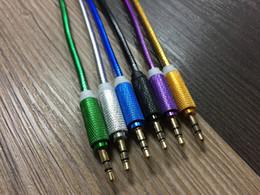 extensões móveis Desconto 3FT Auxiliar AUX Metal Car Audio Cabo Estéreo de 3.5mm Macho para Macho Linha de Extensão para TV Computador Portátil Speaker Telefone Móvel