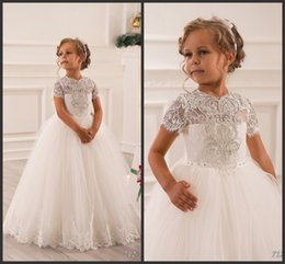 Wholesale Dress Girl Feather - 2016 Newest Baby Girl Dresses Boutique Cheap Country Ball Gown Beaded vintage Tulle Flower Girl Dresses