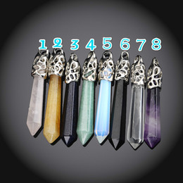 Wholesale Diamond Amethyst Necklace - Natural Amethyst Point Pendant Opal Point Pendant Crystal Quartz Point Gemstone Pendant Healing Stone Pendulum Pendant Natural Quartz