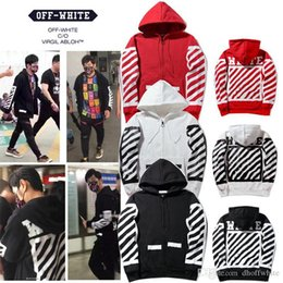 Wholesale White Hooded Cardigan Sweater - New OFF WHITE Tide Brand Twill Frame Stripes Hooded Hoodie Men Women Hooded Cardigan Sweater Loose Sweatshirt Tops
