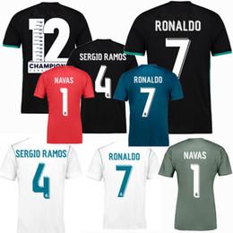 Wholesale green spandex shirt - 2018 2019 Real madrid Soccer Jersey 17 18 19 RONALDO MARCELO BALE ASENSIO NAVAS RAMOS ISCO KROOS MODRIC Champions League football shirts