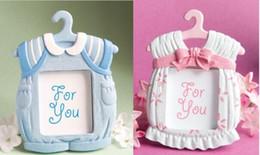 l'acquazzone del bambino favorisce il blu Sconti Portafoto carino rosa blu Cornice per foto Baby Shower Bomboniere Tovaglietta T-Shirt carina T-shirt nel gancio Cornice per foto bomboniera WT026