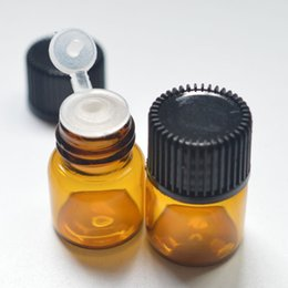 Wholesale Glass Wishing Bottles - 1ml Small Glass Amber Bottles With Pull Orifice Rducer Screw Cap Mini 16*22mm Empty Clear Wishing Vials Free Shipping