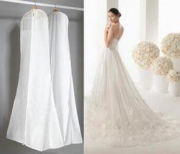 Wholesale Long Dress Storage - Big 180cm Wedding Dress Gown Bags High Quality White Dust Bag Long Garment Cover Travel Storage Dust Covers