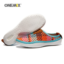 Wholesale Sports Loafers Shoes - ONEMIX Woman Slippers for Womens Weaving Lightweight Breathable Zapatillas Sports Shoe Lovers Orange Loafers Casual Outdoor Walking Sneakers