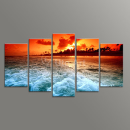 Wholesale Ocean Painting Piece - Modern Unstretched 5 Piece Canvas Art Ocean Beach Decor Painting Digital Picture Prints on Canvas for Living Room Home Decor Art