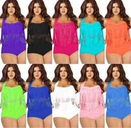 Wholesale Boho Fringe - Plus Size Swimwear For Women Fringe Tassels Bikini High Waist Swimsuit Sexy Women Bathing Suit Padded Boho Swimsuit Monokini