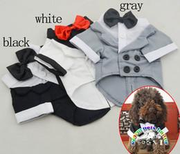 Perro mascota de esmoquin online-Productos para perros al por mayor perro de algodón esmoquin de la boda ropa de perro perro de invierno mascotas ropa capa de perro smaill ropa de perro perro vestidos de fiesta