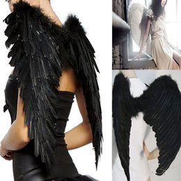 Wholesale pink fairy wings - Beautiful and stylish gift Black Feather Wings Sexy Devil Fallen Angel Fairy Halloween Costume Fancy Dress