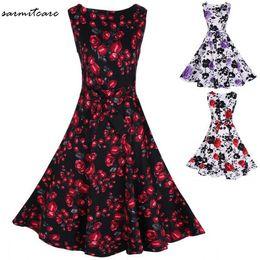 Wholesale Zip Brief - 0075 - 5 Colors Floral Print O Neck Sleeveless Knee Long Brief Style Dress Back Zip OL Working Dress Office Dress Long Summer Dress