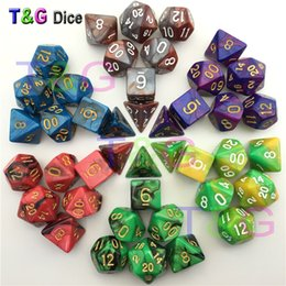 Wholesale Quality Board Games - Top Quality 7pcs Mix color Dice Set with Nebula effect juegos de mesa dados dungeons and dragons rpg Dice Board game