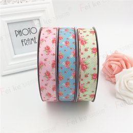Wholesale Wholesale Webbing Rolls - 1 inch (25mm) flower printed Polyester Ribbon webbing 50 yards roll DIY hand make material Grosgrain Wedding gift wrap Headband ,6C90011