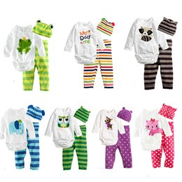 Wholesale Pink Toddler Pants - 2017 Baby Boys Girls Rompers Infant Cute Cartoon Long Sleeve Jumpsuit Toddler Animal Clothing Sets Newborn Baby Clothes+Hat+Pants 11 Colors