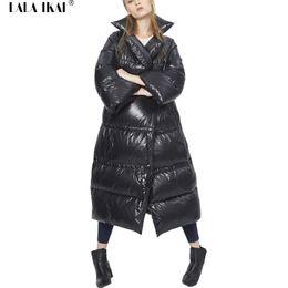 Wholesale Winter Hat Italy - Women Black Stand Collar Down Coat Italy Fashion Ladies Parka Winter Jacket Female White Duck Down Parkas Winter Coat SWJ0172-4