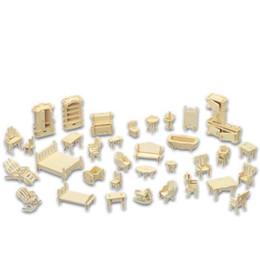 Wholesale 3d Miniature Puzzle - A Kids Toy Of 3d Wooden Puzzle 34 Pcs set Miniature 1:12 Dollhouse Furniture For Dollsmini Diy Building Model For Children Gift