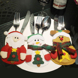 Wholesale Bamboo Fork Set - Wholesale- 1pc Christmas Fork Holders Christmas Decoration Cute Tableware Cover Set Santa Claus Cloth Style Tableware Bags s2