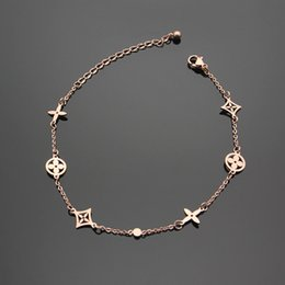 Wholesale Bracelet Words - Top quality 316L stainless steel charm bracelet chain with hollow flower and words for women Brand jewelry in 21cm length PS5236A