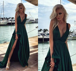 Wholesale Emerald Green Formal Gowns - Emerald Green Prom Dresses 2016 Deep V Neck Ruffles A Line Robe De Soiree Sexy Side Split Formal Evening Gowns 2016