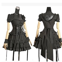 Wholesale japanese princess costumes - Retro Black Short Sleeve Gothic Lolita Dress Princess Japanese Cosplay Gothic Lolita Dress