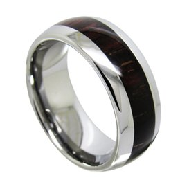 Wholesale Wood Carbide - 8mm High Polish Domed Tungsten Carbide Ring Real Wood Inlaied fashion jewelry finger ring for men
