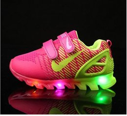 Wholesale Outdoor Sport Lights Led - Kids Shoes With Light New Spring Net Breathable Boys Fashion Sneakers Chaussure Led Enfant Sport Running Girls Shoes