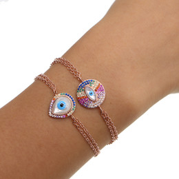 Wholesale Double Pearl Bracelets - 2017 fashion jewelry pave multi color cz rainbow stone mother of pearl evil eye charm double chain rose gold bracelet for girl