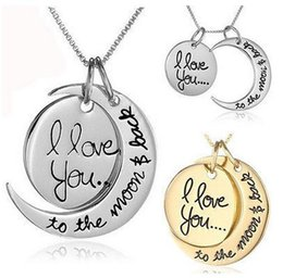 Wholesale Necklace Pendants Dhl - DHL Fast Shipping Fashion Necklace Moon Necklace I Love You To The Moon And Back For Mom Sister Family Pendant Link Chain