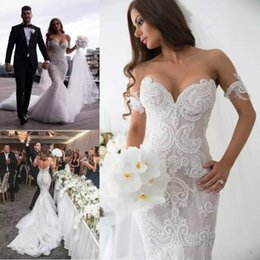 Wholesale Beach Arms - Lace Sexy Mermaid Wedding Dresses Backless Applique Beads Sweep Train Plus Size Wedding Dress with Arm Bands Bohemian Bridal Gowns