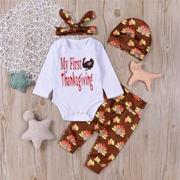 Wholesale Baby Romper Hat Set - Mikrdoo Happy Thanksgiving Clothes Suit Newborn My First Gift Sets Baby Boys Girls Long Romper Tops Flowers Pants Hat Set 4pcs Kids Outfits