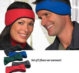 Wholesale Fleece Head Warmers - New Men Women Ear Warmer Winter Head Band Polar Fleece Earband Ski Ear Muff Unisex Stretch Spandex Hair Band Accessories