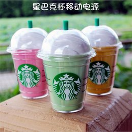 Wholesale Charger Cute - Free Shipping Cute Starbuck Power Bank 5200MAh Starbuck Coffee Cup External Portable Backup Battery Charger Universal With Package