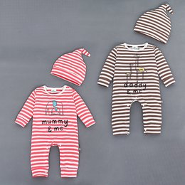 Wholesale Giraffe Baby Clothes - 2016 Baby Rompers Sets Clothing Boys Girls Cartoon Elephant Giraffe Striped One-piece Rompers + Hats 2pcs Set Children Outfits Clothes