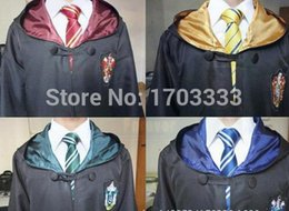 Wholesale Adult Halloween Capes - Free Shipping Harry Potter Cloak Robe Cape Gryffindor Cosplay Costume Kids Adult Cloak Robe Cape Halloween Gift Wholesale