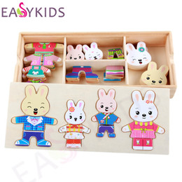 Wholesale Wholesale Wooden Easels - Wholesale- Baby Rabbit Bear Change Clothes Puzzle Multifunctional Wooden Toys Educational Magnetic Puzzle Animal Kids Jigsaw Drawing Easel