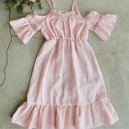 Wholesale Korean Sexy Clothes - Korean Clothes Sweet Girls Lace Sexy Sleeve Cotton Dress Comfortable Princess Party Dancing Dressy Girl Dresses White Pink K7865