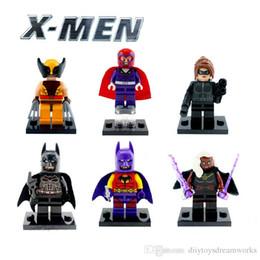 Wholesale Catwoman Action Figures - Super Heroes X-men 6pcs Ororo Munroe Magneto Catwoman Wolverine Batman action figures Building blocks toys gift for children