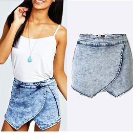 Wholesale Hot Jean Shorts Women - 2016052919 Ladies New Demin Skorts Shorts Acid Wash Jean Denim Faded Hot Pants XXXL super plus size