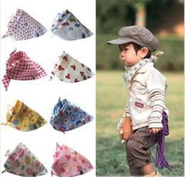 Wholesale Children Scarfs Triangle - Baby Saliva Bibs Infant Triangle Bandana Towels Kids Cotton Head Scarf Children Scarf Armband Multi-function Fashion Matching 1-7 years B513
