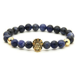 Wholesale People Charms - Wholesale 10pcs lot 8mm Natural Blue Veins Stone with Gold and Silver Aboriginal Indigenous people Cz Beads Bracelets