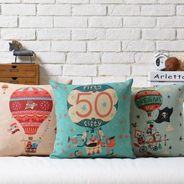 Wholesale Balloon Cars - 45cm Cartoon Up Fifty fire balloon Cotton Linen Fabric Waist Pillow 18inch Hot Sale New Home Decorative Sofa Car Back Cushion