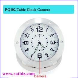 Wholesale Clock Style Hidden Spy - Table Clock style Camera Mini Clock hidden camera Table Desk Spy Clock Camera Steel Vedio Recorder Camcorder Mini DV DVR PQ102