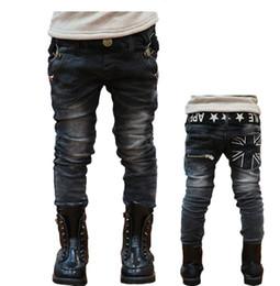 Wholesale Trouser Jeans 5t - Boys Jeans Spring Winter Children Casual Letters Belt Zipper Pocket Jeans Denim Long Pants Trousers Designed Pant