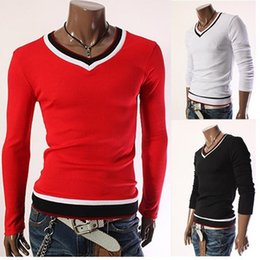 Wholesale Men Free Shipping Korean Clothing - Men Korean V-Neck Full Sleeve T-Shirts Pullover Slim Cozy Anti-Shrink Fashion Casual Spring Autumn Clothes Brand New M-XXL Free Shipping