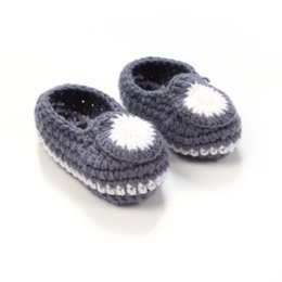 Argentina Al por mayor-moda hecha a mano bebé Crochet Booties punto Baby Boy Shoes calcetines recién nacidos 4 colores 10 cm baby boy newborn crochet booties on sale Suministro
