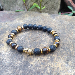 сделать браслеты из бисера Скидка SN0378 сделать вас собственный браслет из бисера человек тигровый глаз золото Будда глава браслет лаве камень ювелирные изделия мала ювелирные изделия браслеты
