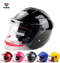 Wholesale Helmet 13 - 2016 New YOHE half face motorcycle helmet electric bicycle motorbike helmets YH870A Made of ABS with transparent lens 13 colors