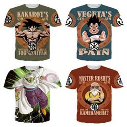 Wholesale Mens Cosplay - Dragon Ball T Shirt Mens Tshirt Short Sleeve 3D Print Letter O-Neck Vegeta Gohan Master Roshi Kame Sennin Cosplay Top Tee Brand Designer