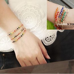 Wholesale Indian Lucky - Charm Bracelets Fashion braided rainbrow 12 beads raphia raffia bracelets jewelry, woven friendship Love Lucky Grass Crystal Women Bracelets